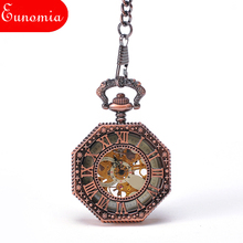 Rose Gold Octagon Skeleton Roman Numbers Hand Wind Key Chain Pendant Watch 100pcs/lot Wholesale PW374