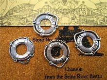 45pcs--Life Ring charms, Antique Tibetan silver Life Preserver Charm pendants, Jewelry Making 22x24m