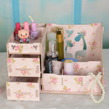 Stay Gold Creative Storage Table Box Jewelry  Cosmetic Wooden Organizer For Cosmetics Storage Box Makeup Organizador