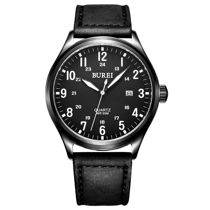 BUREI Brand Men Sapphire Crystal Genuine Leather Band Quartz Watch Waterproof Luminous Wristwatches With Premiums Package 13016M<br><br>Aliexpress