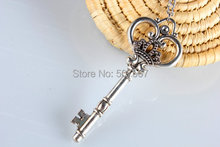 Wholesale --Sterling Silver Key Necklace, Skeleton Key Pendant Necklace, Handmade Sterling Silver Jewelry(China)