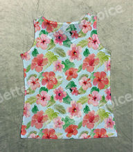 Track Ship+Vintage Vest Tanks Tank Pink Red Flower with Green Leaves So Beautiful 1291(Hong Kong)