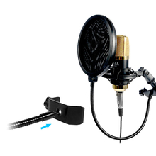 Double Layer Studio Microfone Microphone Mic Pop Filter Wind Screen Mask Shield Broadcasting Recording Swivel Mount w/ Gooseneck
