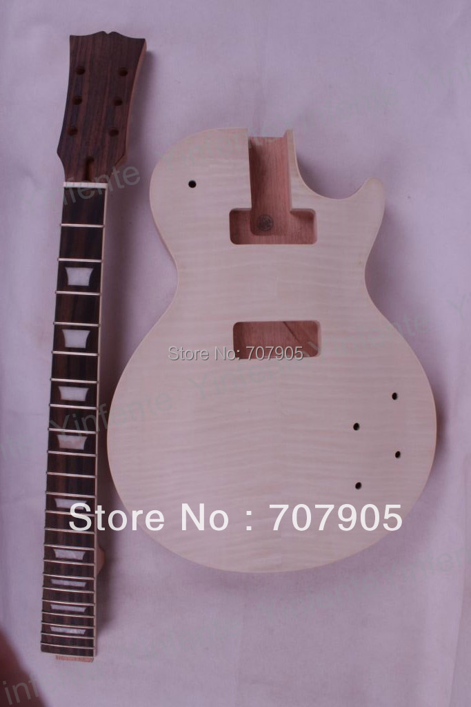 1set Unfinished electric guitar neck set in&amp;Body Mahogany Flame Maple Veneer New High Quality<br><br>Aliexpress