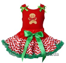 Xmas Red Green Polka Dots / Red Green Chevron Pettiskirt with Gingerbread Man Red Pettitop outfits 2 pcs 1-7Y