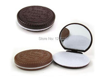 1pcs  Useful  Cute Cookie Chocolate Design Pocket Mirror Comb Lady Girl Makeup Cosmetic Tool