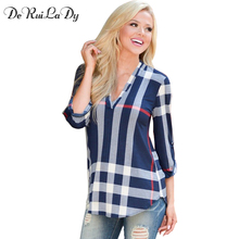 DeRuiLaDy 2017 Autumn Women T shirt V-neck Lattice Print Women Casual Tops Fashion Trends Loose T shirts