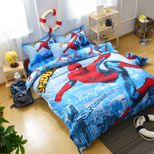 Cartoon 3d Bedding Set Lovely Spider-Man Hello Kitty Pattern Bed Linen for Kids Queen Size Duvet Cover Set Flat Sheet Pillowcase