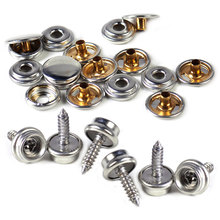 New 25Sets Silver 15mm Stainless Snap Cap Button Screw Studs Fasteners fit for Canvas Tent Canopy Sockets Boat Marine Cover