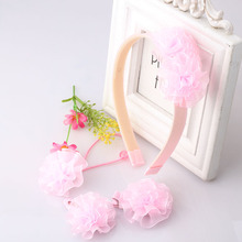 Cute 4pcs Girls Hair Accessories Flower Hair Band Colorful Lace Barrette Scrunchy Kids Headwear Set Children Hair Clip Headbands(China)