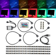 Waterproof 5050 Colour Change RGB LED Strip Light Computer TV USB Backlight Light Kit USB Power Cable With Key Controller
