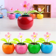 Solar Powered Flowerpot Swing Dancing Toy Flip Flap Flower For Cars Office Home JUN01-40(China)