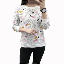 Fashion Cute Kitty Print Womens Hoodies Pullover Spring Autumn Long Sleeve O Neck Womens Sweatshirts Loose Sudadera Mujer