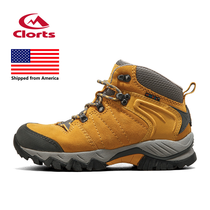 Shipped From USA Clorts Hiking Boots Women Cow Suede Waterproof Outdoor Trail Sport Shoes Women Hiking Shoes HKM-822(China (Mainland))