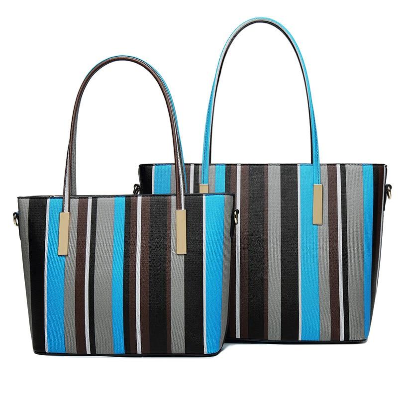 Designers Fashion Women Bag Composite Bag Brand Tote Ladies Evening Handbag Shoulder Bags Stripe Pu Leather Messenger Bags Sac<br>
