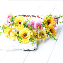 sunflower Fairy Flower Crown Sunflower Headband Yellow Daisy Headdress Simulation Flower Photography Props floral Meadow(China)