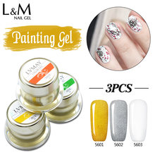 3 Pcs Lvmay Painting Gel Nail Soak Off Pack Well Thick Solid Drawing Art Paint Color UV Paint Curing Nails Polish Ink Jars Full