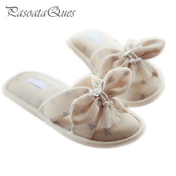 Cotton Bow Women's Shoes Breathable Slides Home Summer Indoor Spring House Women Slippers Pasoataques Brand Asspfct061