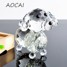 Cute Glass Crystal dogs Figurines Paperweight Crafts Art&Collection Table Car Ornaments Souvenir Home Decor Wedding Gifts(China)