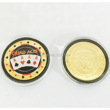 100PCS/lot Poker Card Guard Metal Token Coins Quad Aces 24k Gold Casino Table Game Collectible Coin