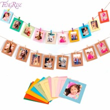 FENGRISE 10pcs Paper Frame Set Picture Frame With Clips and String Birthday Banner Wedding Party Decoration DIY Wall Photo Frame(China)