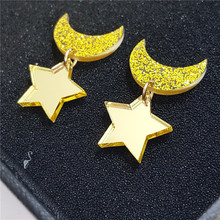 Cute Cartoon Fashion Jewelry Women Ornament Accessries Drop Earrings Brincos Star Moon Shaped Yellow Acrylic Sailor moon Earring