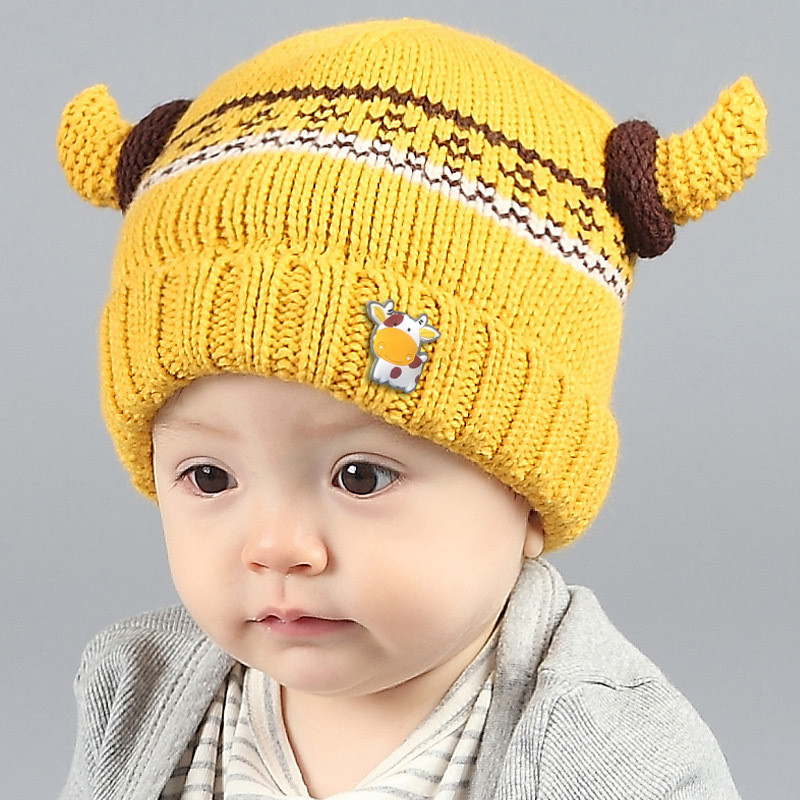 Baby Kids Winter Caps Cartoon Cow Striped Knitted Hat Girls/Boys Crochet Beanies With Cute Ox Horn Toddler Infant Hats Christmas()
