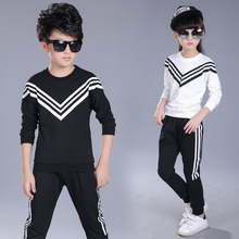 Teenage Girls and boys Clothing Sets 2017 Kids Sports Wear Striped Long Sleeve Top Pants 2 Pcs White Black Tracksuit Clothes(China)