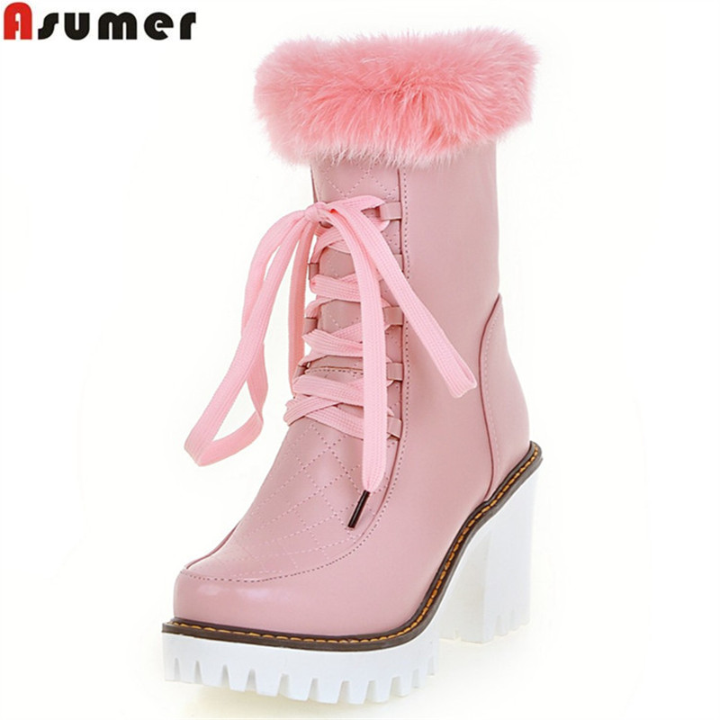 Asumer 2017 hot sale autumn winter new arrive women boots fashion solid color zipper lace up snow boots platform ankle boots<br>