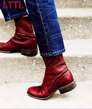 2017 Modern Vintage Trend Ankle Boots Women Zipper Ring Pointed Toe Leather Cowboy Chelsea Bota Shoes Women
