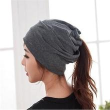 Fashion Casual Design Plain Womens Beanie Hat Cool Snap Backs 4 Colours Neck Scarf Double Use For Girls Winter Ears Hat