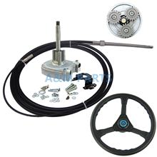 15 FT Boat Outboard Steering System Marine Engine Planetary Gear Steering Control With 15FT Cable and Plastic Steering Wheel(China)