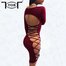 TOB lace up pleuche 3 colors S-XL vestidos women 2017 autumn winter womens sexy back double lined party night club dress XD776