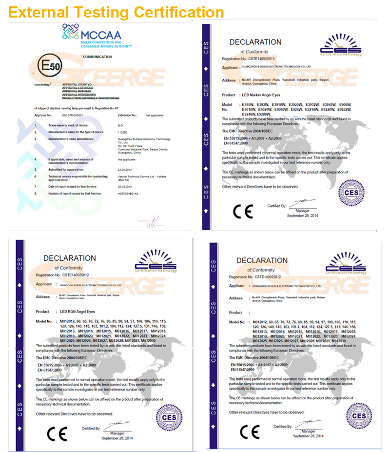 2 products External Testing Certification