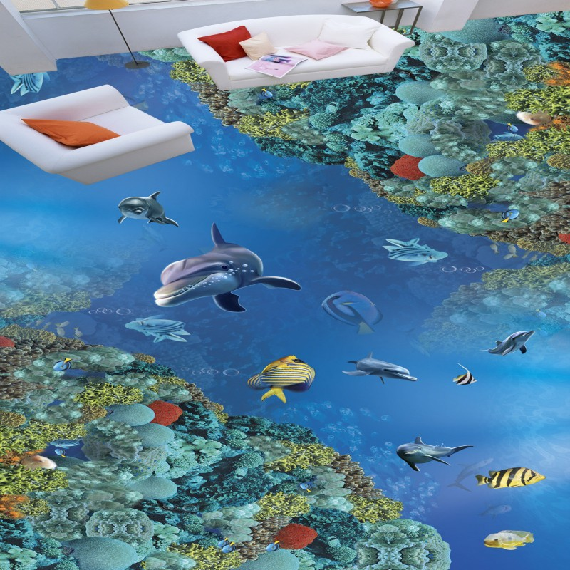 Free Shipping Underwater World 3D Dolphin flooring wallpaper hotel office hallway waterproof wear floor mural<br><br>Aliexpress