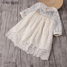 VORO BEVE Summer Fashion Baby Girl Dress Lace Flower Embroidery Long Sleeves Children Clothes kids causal dress girls dresses
