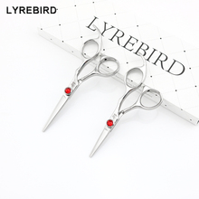 Lyrebird HIGH CLASS Hair scissors 440C Japan hair shears 4.5 INCH or 5 INCH Big red stone good quality NEW(China)