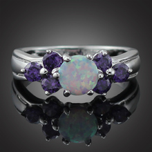 HAIMIS Free Gift Box Unusual Synthetic White Fire Opal Fashion Jewelry For Girls Women Opal Ring Size 6 7 8 9 103WD