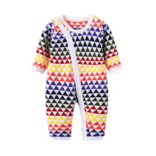 2017 New Autumn Baby Rompers Baby Boy Knitted Colorful Triangle Long Sleeve Jumpsuit  Baby Girl Onesie  Baby Boutique Clothes