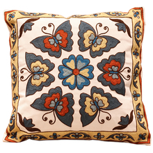 Butterfly Embroidery Sofa Cushion Cover 100% Cotton funda cojin Car Back Throw Pillow Cases New Wedding Gift Wholesale Discount(China)