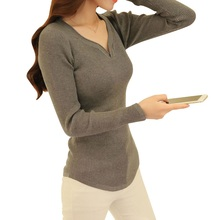 2017 new Deep V collar Bottoming sweaters Slim Autumn and winter Show off your figure Woman sweater Fashion and comfortable(China)