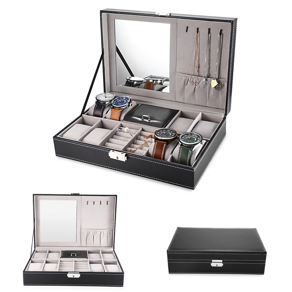 2 In 1 8 Watch Box Grids+3 Mixed Grids PU Leather Watch Case Storage Organizer Box Luxury Jewelry Ring Display Watch Boxes Black (11)