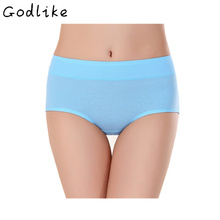 GODLIKE 2017 fashion ladies underwear/waist full cotton plain color triangle underwear/fashion subcode underwear(China)