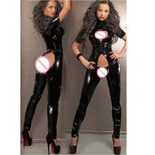 Buy S-XXL NEW! Sexy Latex Wetlook Catsuit Gothic Faux Leather Bodysuit Lady Bandage PVC Leather Bodysuit Black Open Crotch Jumpsuit