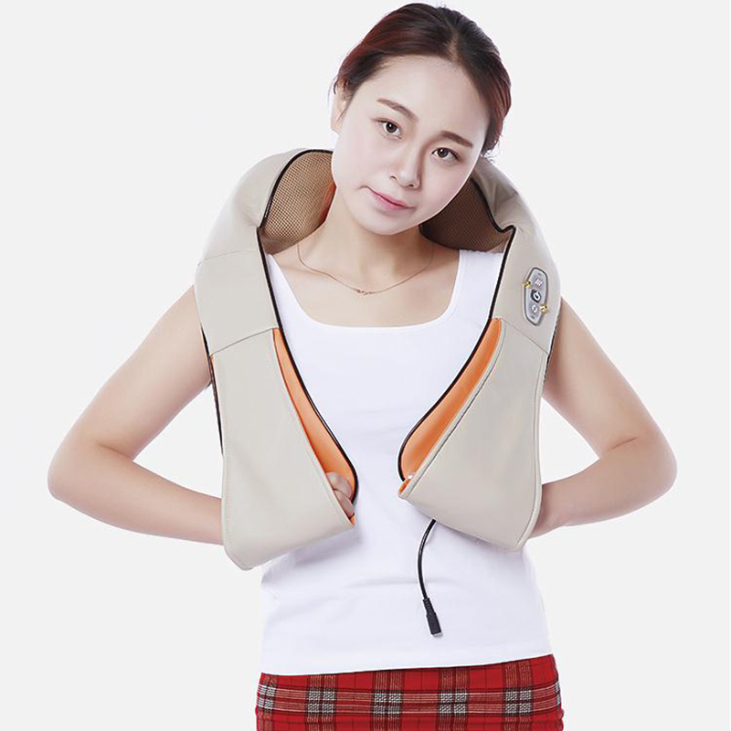 Cervical Back Neck Massager Shawl Electric Roller Heat Device Manual Home Car Massage Tool Slow down the pressure H7JP<br>