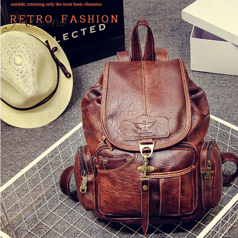 travel men back pack vintage leather backpack student waterproof drawstring school bag ladies laptop backpack cartable<br>