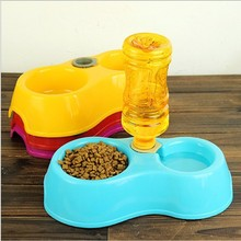 Free Shipping Dual Port Dog Automatic Water Dispenser Feeder Utensils Bowl Cat Drinking Fountain Food Dish Pet Bowl(China)