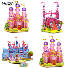 3D Puzzle kids Paper Model World Architecture House Cartoon image ship castle Educational Toys for Children Models Building Toy(China)