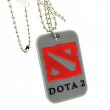 "Promo Gift 25PCS/Lot Dota 2 Silicone Dog Tag Fashion Necklace Wtih 24"" Ballchain, Available for Give Away Gift(China)"