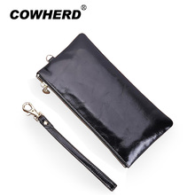 Hot sell! 100% Oil Wax Genuine Leather wallets women coin purse brand real leather purse ladies clutch money bag Bolsa 6colors(China)